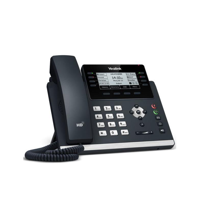 تصویر تلفن تحت شبکه یالینک SIP-T43U از سمت چپ
