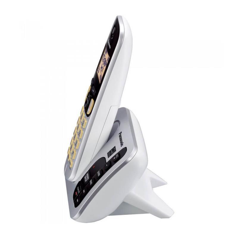 تصویر تلفن بی سیم پاناسونیک KX-TGC220 سفید رنگ از کنار