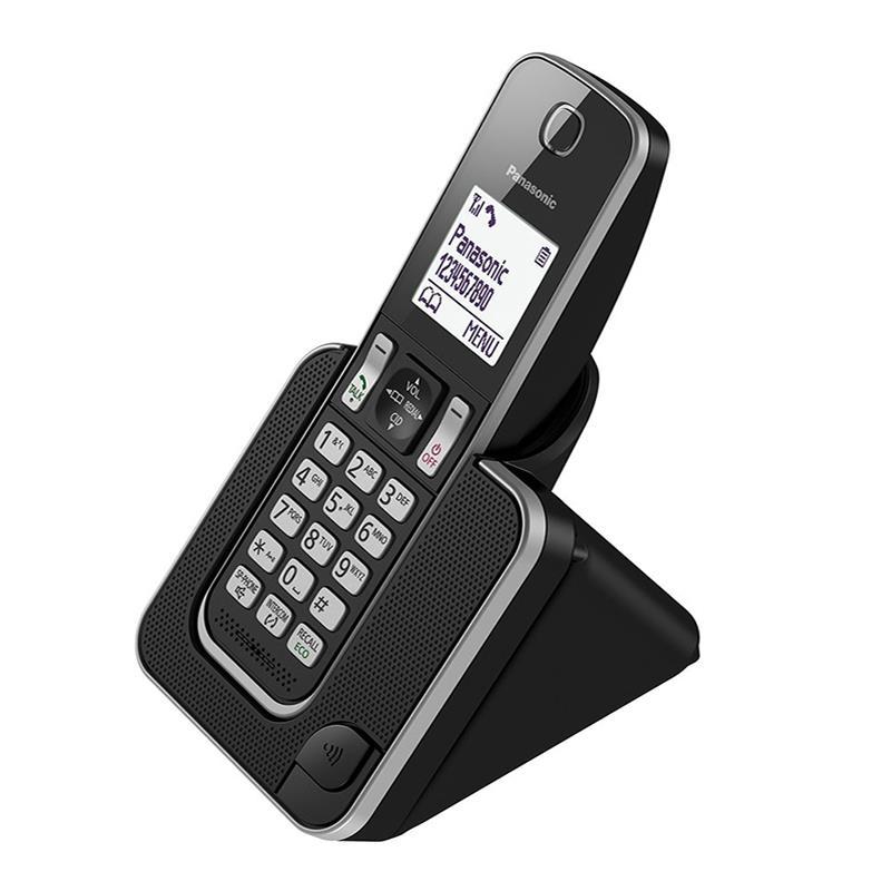 تصویر از کنار گوشی تلفن بیسیم پاناسونیک KX-TGD320 در حالت روشن